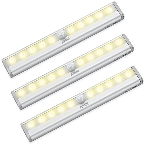 AMIR 10 LED Motion Sensing Closet Lights, 3 Pack DIY Stick On Anywhere  Portable 10 LED Wireless Cabinet Night/ Stairs/ Step Light Bar With  Magnetic Strip, ...
