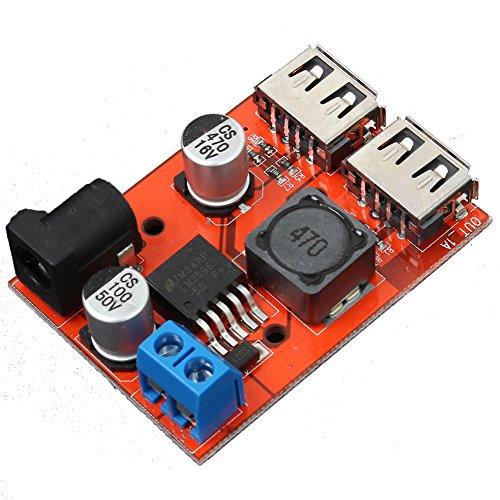 Icstation DC to DC Voltage Regulator Dual USB Charger 6-40V to 5V 3A