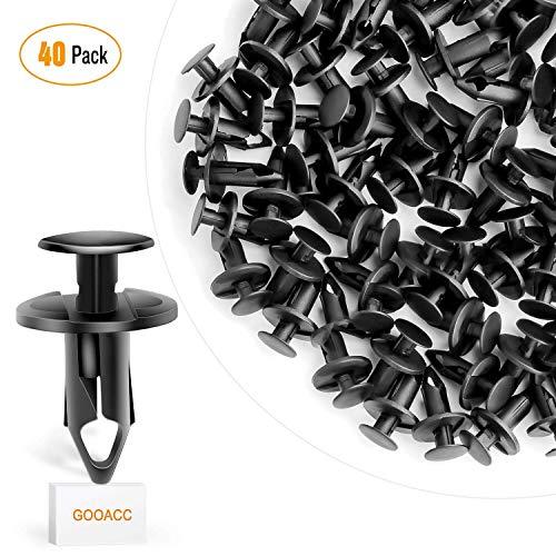 GOOACC 40PCS Nylon Bumper Fastener Rivet Clips 10mm For
